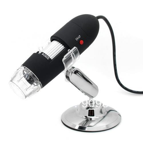 Microscopio digitale USB 2MP Magnifier elettronico dell'endoscopio 25X ~ 200X Ingrandimento Microscopi ottici Nero Microscopio biologico nero