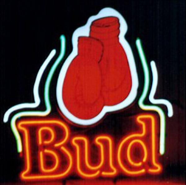 """Bud Boxing Gloves Neon Sign Handmade Custom Real Glass Tube Store Bar Sport Advertising Display Neon Signs W/Printed Plastic Board 14""""X17"""""""
