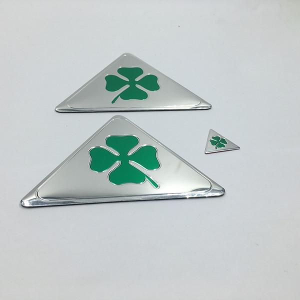 Good Quality quatrefoil green delta Side Fender Emblem Badge Sticker Decals For ALFA ROMEO 147 156 166 Giulietta Giulia