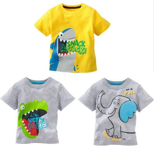Free Shipping Baby Kids Boys Cartoon Tops T-shirt Age 1-6 Years