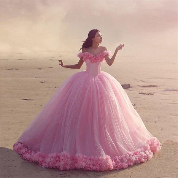 best selling Sexy Off The Shoulder Ball Gown Wedding Dress with Hand Made Flowers Gorgeous Pink Tulle Bridal Gowns