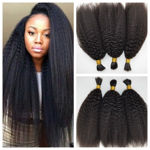 HOT Brazilian Hair Kinky Straight Human Braiding Hair Bulk No Attachment 100% Unprocessed Yaki Human Braiding Hair 8-28 G-EASY