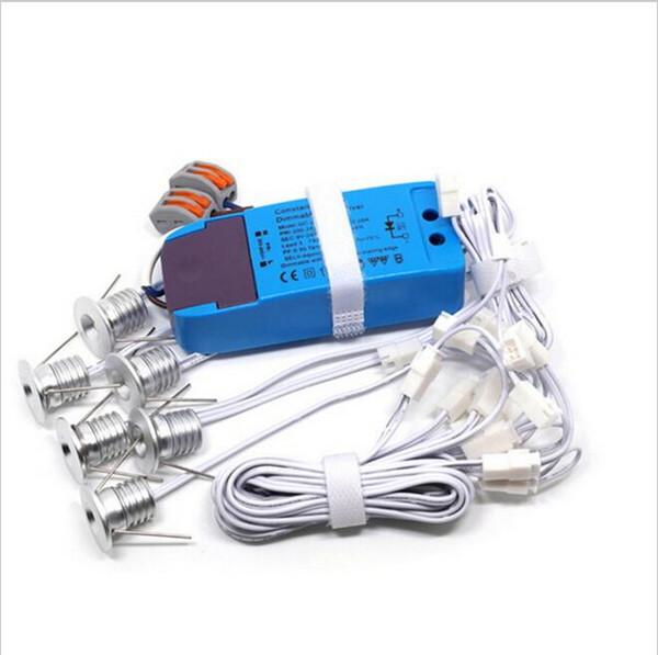6pcs / lot LED enterré lumière IP65 extérieure mini Dimmable LED Downlight LED rondelle 1WX6pcs LED trou d'éclairage taille 15mm