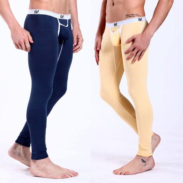 Toptan-erkek Sıcak Low Rise Pantolon Modal Iç Çamaşırı Paçalı Don Termal Pantolon Dipleri