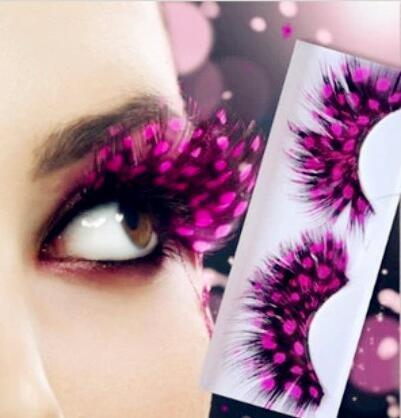 Free 42 Kinds Colorful Beauty Feather False Eyelashes Eyes Makeup Feather eyelashes for party red dots stage exaggeration