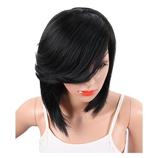 Short Cut Straight Bob human hair Wigs for black Women 180% density African American Wigs with Bangs Natural Black Full Wigs