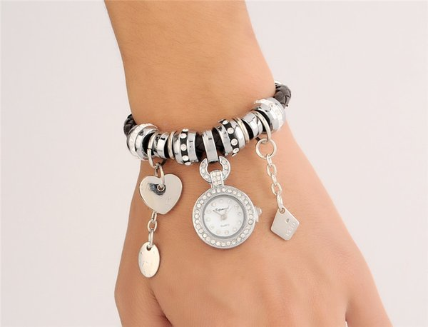 Quartz Watch Silver Braided PU Leather Band Watch with Beads Charms Pendant Bracelets Watch Women Dress Watches disc heart bracelets