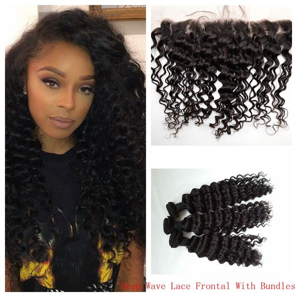 Brazilian Curly Hair With Lace Frontal CLosure 13x4 Bleached Knots Unprocessed Deep Wave Hair Weave Closure 8-30inch G-EASY