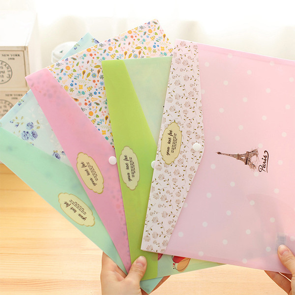 top popular Wholesale-4 pcs lot Korean stationery Small fresh flowers A4 file folder Cute tower document bag office school supplies canetas escolar 2021