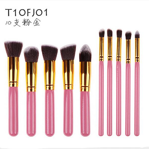 10 pcs Kabuki Pincéis de Maquiagem SGM 10 pcs Profissional Kit Escova de Cosmética De Nylon Cabelo De Madeira Lidar Com Sombra Fundação Ferramentas 3 conjuntos frete grátis