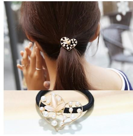 15% off! 5 Style Hair Jewelry Gold Plated Crystal Rhinestone Elastic Ponytail Holder Hair Rope hair bands Rubber Band Hair Accessories 25pcs