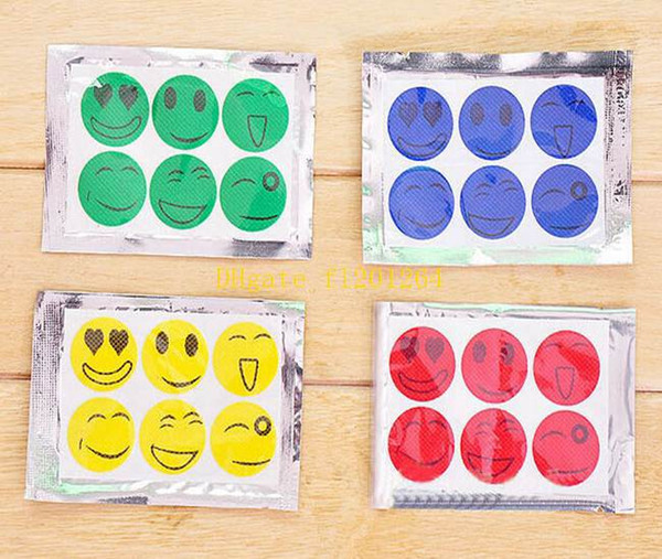 top popular 600packs lot (1 Pack=6pcs) Mosquito Repellent Patch Smiling Face Type Drive Midge Mosquito Cartoon Anti Mosquito Repeller Sticker 2019