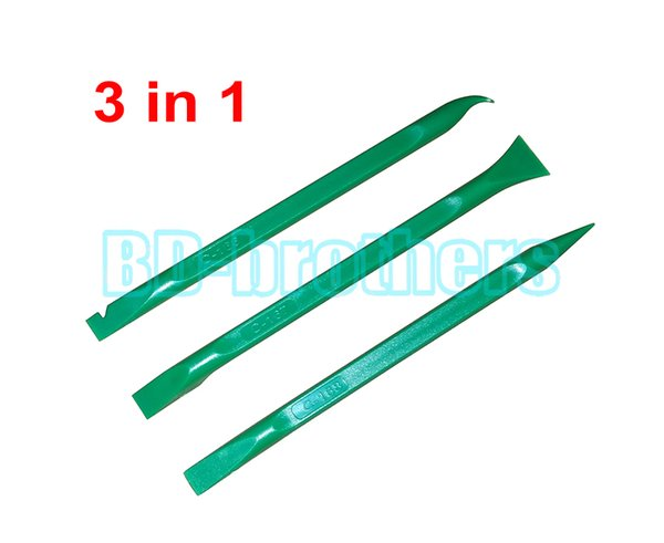 3 in 1 Green Pry Tool,155mm Prying Opening Tools Plastic Crowbar for Phone Tablet PC Flat Cable / Screen / Housing Repair 300sets/lot