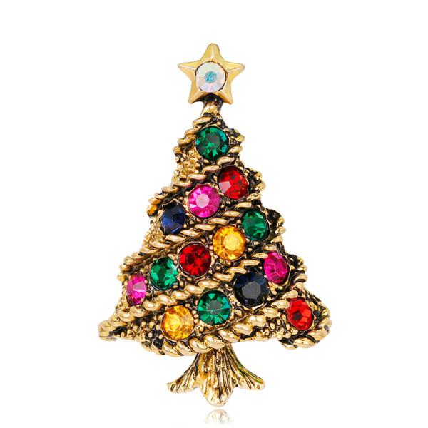 Heißer Verkauf Multicolor Kristall Strass Broschen für Frauen Vintage Weihnachtsbaum Brosche Modeschmuck als Kind Geschenk