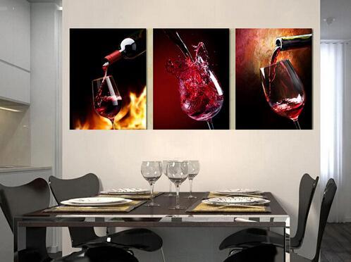 Acheter 3 Pièce Cuisine Moderne Toile Peintures Tasse à Vin Rouge Bouteille Art Mural Peinture à L Huile Set Bar Salle à Manger Décorative Photos No