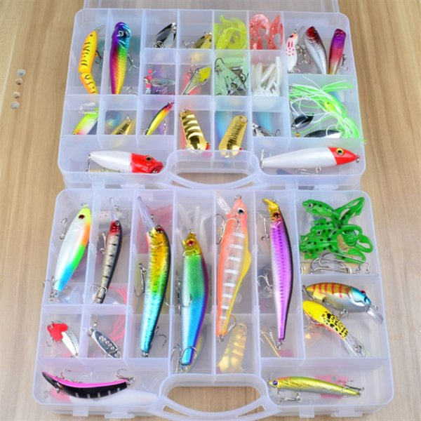 69PCS Fishing Lure Combo and Double-deck Box-packed Various Fishing Baits Sets or Minnow Crankbaits Grub Worms Spoons Lifelike Fake Baits