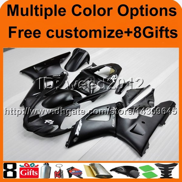 colors+8Gifts black YZFR1 2000 2001 yzf r1 Unpainted motorcycle cowl Fairing for Yamaha