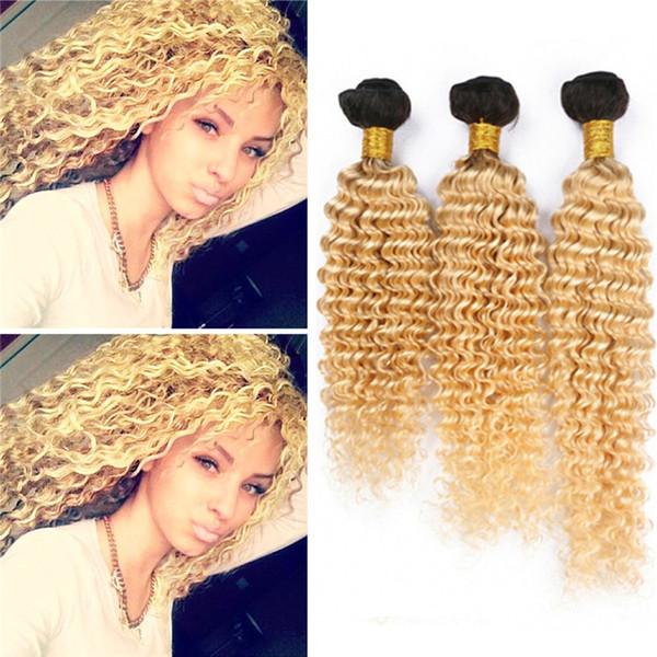 Dark Roots 1B / 613 Ombre Deep Wave Hair Bundles 2 tonos Blonde Ombre El pelo humano rizado teje 8A Malasia Ombre Hair Extensions