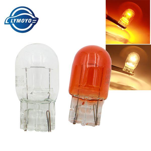LYMOYO car T20 w21/5w 7440 7443 halogen lamp 12v warm white amber brake bulbs Stop Light Tail Light Rear Turn Signal 12v