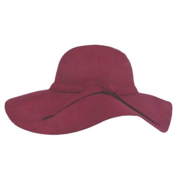 2016 nouvelles femmes Vintage Lady avec large bord de laine melon chapeau Fedora Hat disquette Cloche Sun Beach Bowknot Cap
