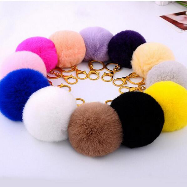 12pcs/lot Soft Fur Ball Lovely Metal Key Chains Ball Plush Keychain Car Keyring Bags Accessories