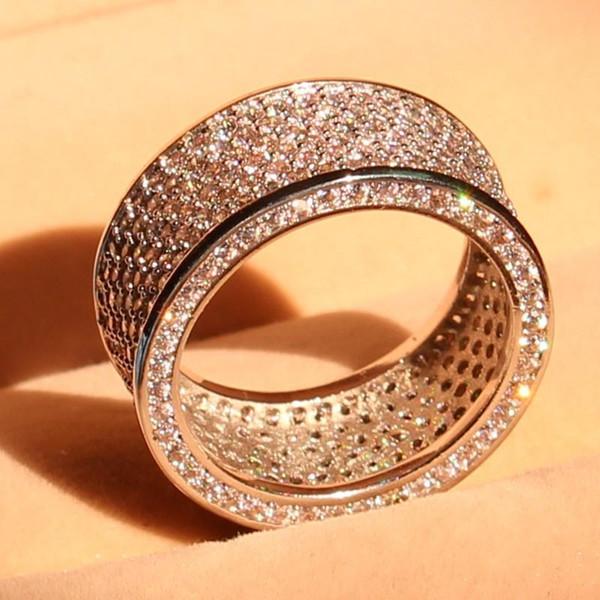 jewelry luxury Full 320pcs white Topaz Simulated Diamond Diamonique 10KT White Gold Filled GF simulated Diamond Wedding Band Ring Size 5-11