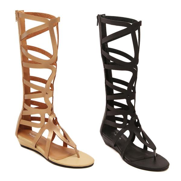 Neue Art- und Weisefrauen öffnen Zehe-flache Ferse-hohle römische Schuh-Sommer-Dame Gladiator Roman Boots-Sandelholze freies Verschiffen C729