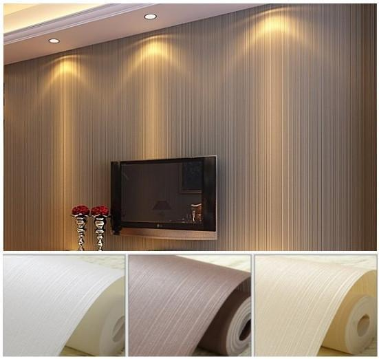 Simple Plain Classic Textured Solid Stripe Non-woven Home Decor Wallpaper Roll for Walls Bedroom White,Cream,Coffee WP120