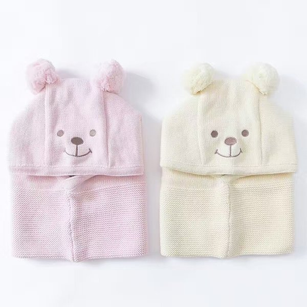 Wholesale Lovely Baby Earmuffs Cap Ear winter windproof hats and scarf set for kids crochet headgear soft warm Hat Knit baby winter beanies