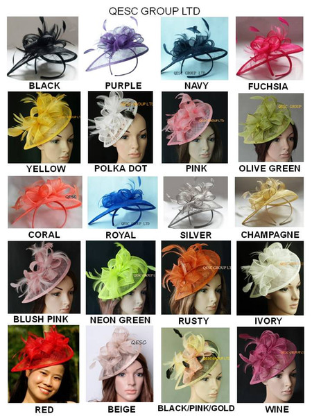 top popular 26 colours.Classic HOT sinamay fascinator hat in SPECIAL shape with feathers for Kentucky Derby wedding party church 2019