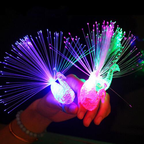 Flashing Peacock Finger Lights Lamps Party Laser Finger Light Up Beam Torch Glow Ring Children'Day High Quality 100pcs DHL free