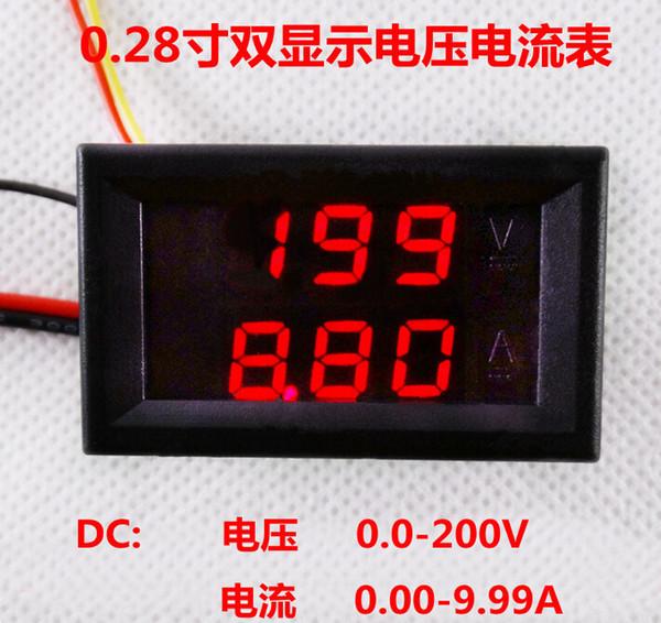 DC 0-200V/10A 5 wires 3 bit Red+Red Dual LED Display Digital panel Ammeter Voltmeter voltage current meter Amp for car battery tester