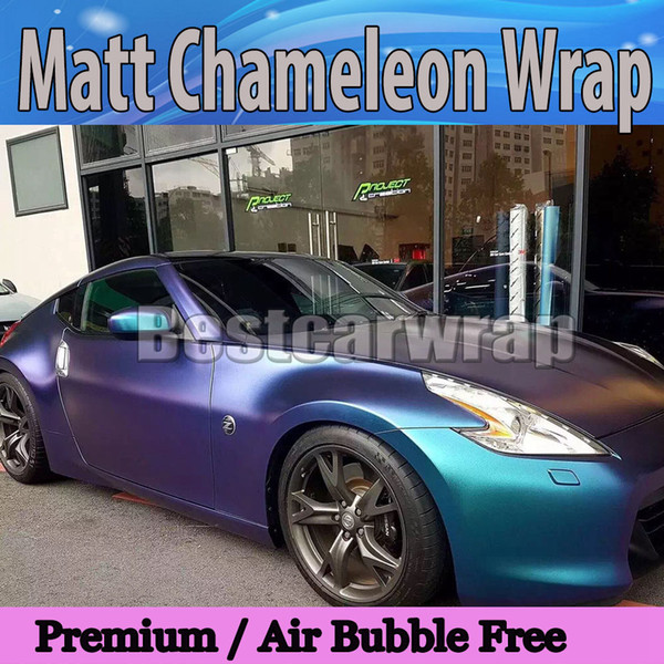 3D Blue to Purple Matte Chameleon metallizzato Wrap con pellicola d'aria Free starlight Car Wrapping film FLIP FLOP 1.52x20m / Roll 4.98x66ft