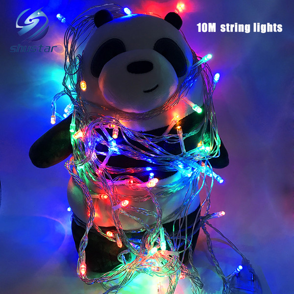 top popular Christmas light Holiday Sale Outdoor 10m 100 LED string 8 Colors choice Red green RGB Fairy Lights Waterproof Party Christmas Garden light 2019
