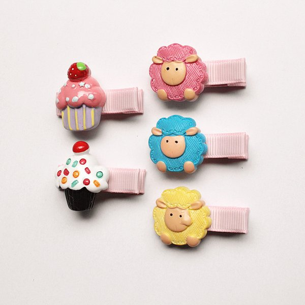 20pc/lot Pink White Icecream Hair Clips Animals Hairpin Kids Lovely Sheep Girls Hotsale Free Shipping Arcrlic Plastic Hairpins