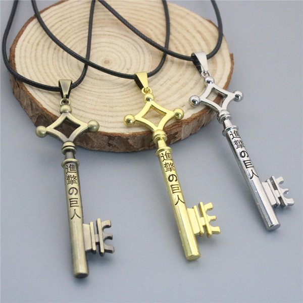 Attack on Titan Anime Eren Jaeger Key Pendants Necklace Silver Plated Leather Alloy Necklace Jewelry Hot Sale