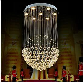 Factory Price!!! New Modern LED Ball K9 Crystal Chandeliers Fashionable Design Lamps Luxury Bulb Lights Hanging Wire Hotel Lighting DHL 1PCS