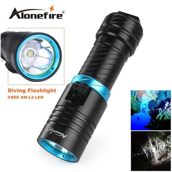 Alonefire DV30 Portable 2000LM CREE XM-L2 LED Waterproof Torch Flashlight Light Scuba 100m Underwater Diving Flashlights