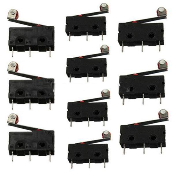 top popular Black 10pcs KW12-3 Micro Roller Lever Arm Normally Open Close Limit Switch B00242 BARD 2021