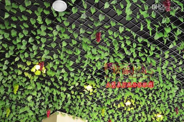 2.4 M de largo uva Artificial grandes hojas colgantes de pared plantas verdes hojas verdes hiedra de ratán para la decoración del hogar bar restaurante decoraciones