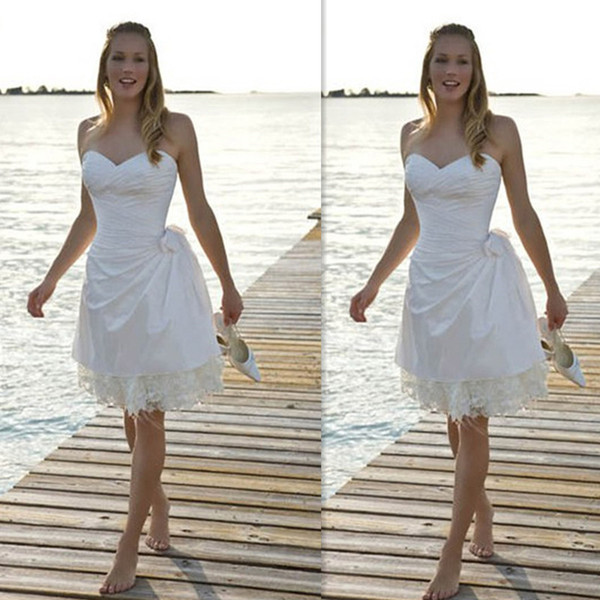 Short Beach Wedding Dresses 2016 White Sweetheart Bridal Gowns Mini Lace And Satin Seaside Summer Cheap Bridals Dress Free Shipping