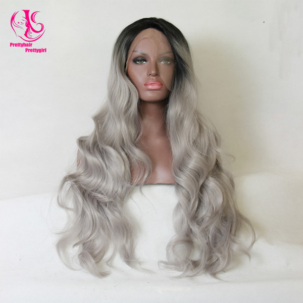 Fashion Wavy Ombre Silver Grey BodyWave Synthetic Lace Front Wig Glueless Long Natural Black/Gray Heat Resistant Wigs For Women