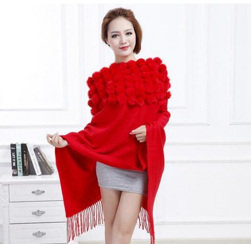 Hot Sale 2016 Women Long Scarf WinterThickening Warm Shawl with Real Rabbit Fur Ball Fashion Cape Wrap Gray Red Stole Low Price