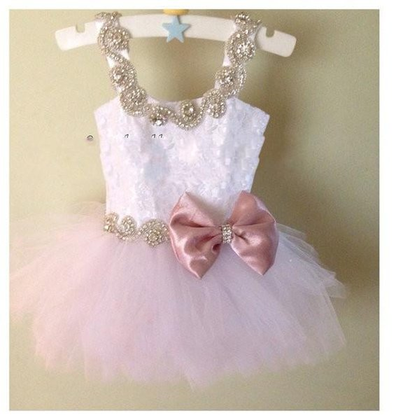 2016 Cute Cupcake Flower Girls Dresses For Weddings Cap Sleeves Crystal Beads Bow Tulle Party Birthday Dress Children Girl Pageant Gowns