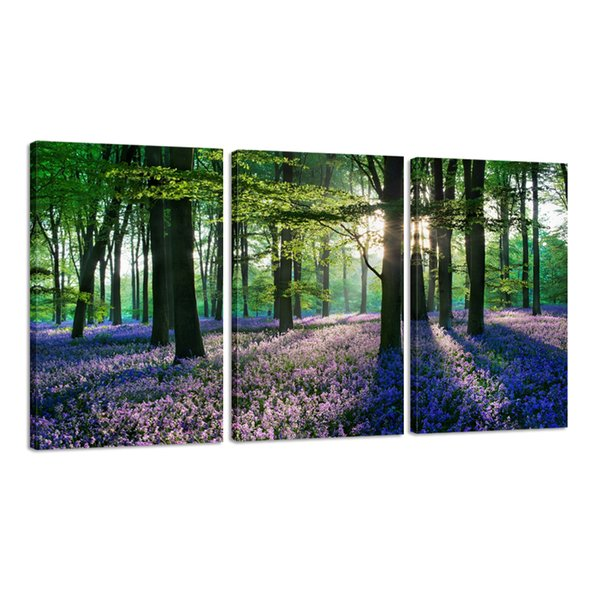 Romantic Purple Lavender in Forest Hd Canvas Print Wall Art for Living Room/bedroom Decoration, Canvas Set of 3 Stretched and Ready to Hang