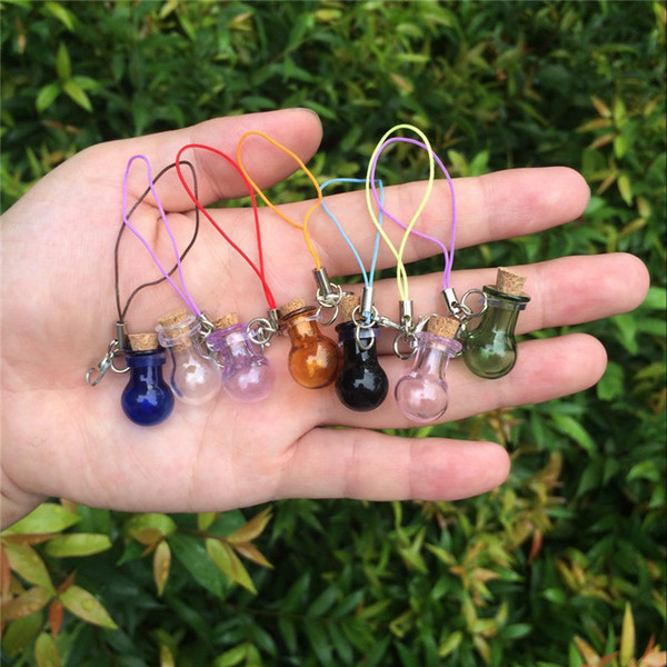 Mini Glass Bottles Key Chain Pendants Lobster Clasp Glass Ball Bottles Corks Vial Arts Jars For Bracelets Mixed Colors 7pcs