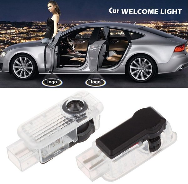2 pcs sombra led logotipo da porta do carro lâmpada de luz do projetor de boas-vindas para audi a6 a8 a8 levou luz da porta do carro para audi logotipo power light