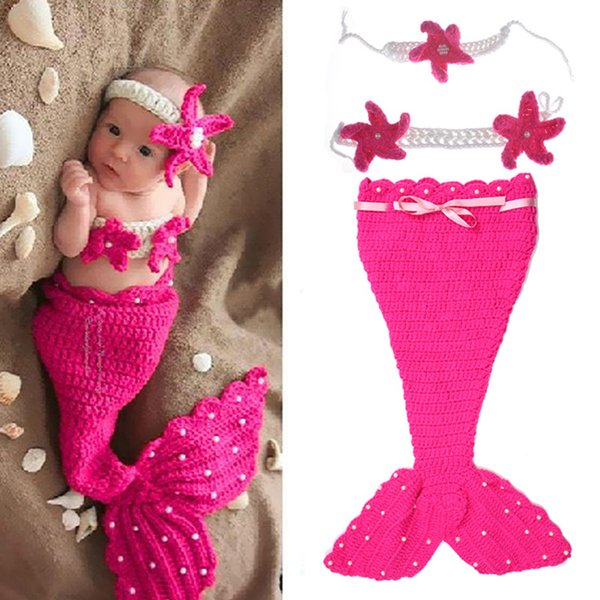 Baby Knitted Hat Woven Mermaid Infant Photography Set Newborn Baby Pictures Baby Hat Crochet Wild Children Photo Props