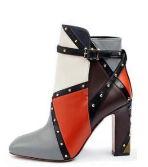 colorful thight hight boots women hight heels fashion boots pointed chuncky heel cuadriculado buckle strap women shoes rivet