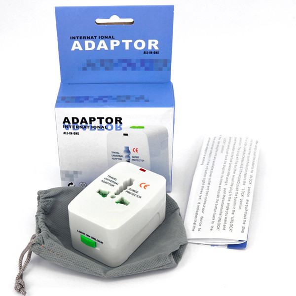 Wholesale 100ps/lot All in One Universal Plug Adapter World Travel AC/DC Power Socket Charger Adaptors with AU US UK EU Converter plug
